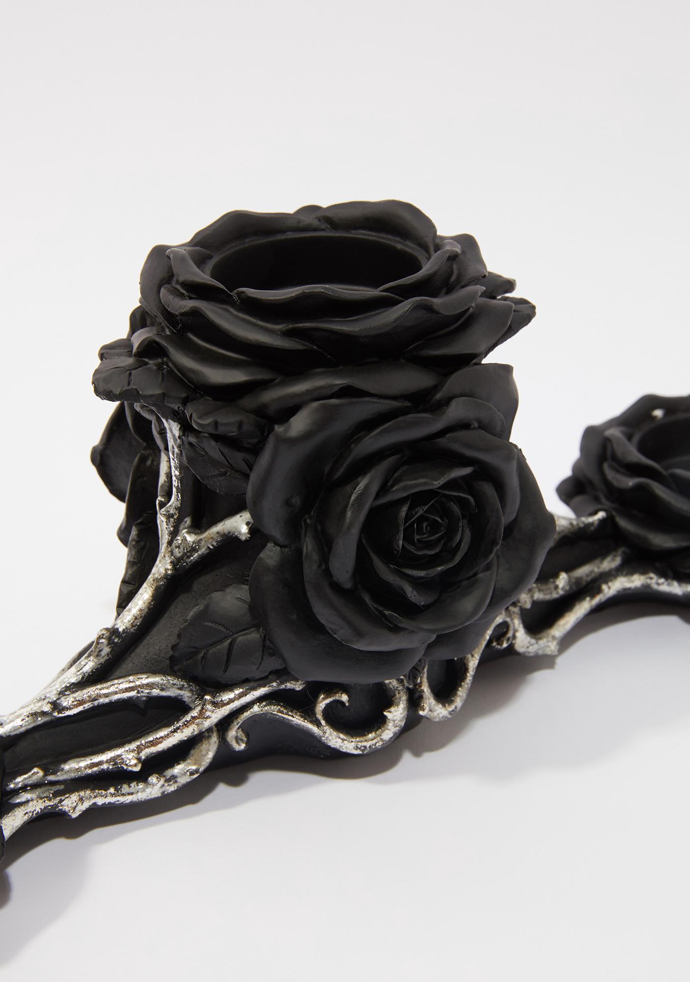 Alchemy England Black Rose Triple Tealight Holder