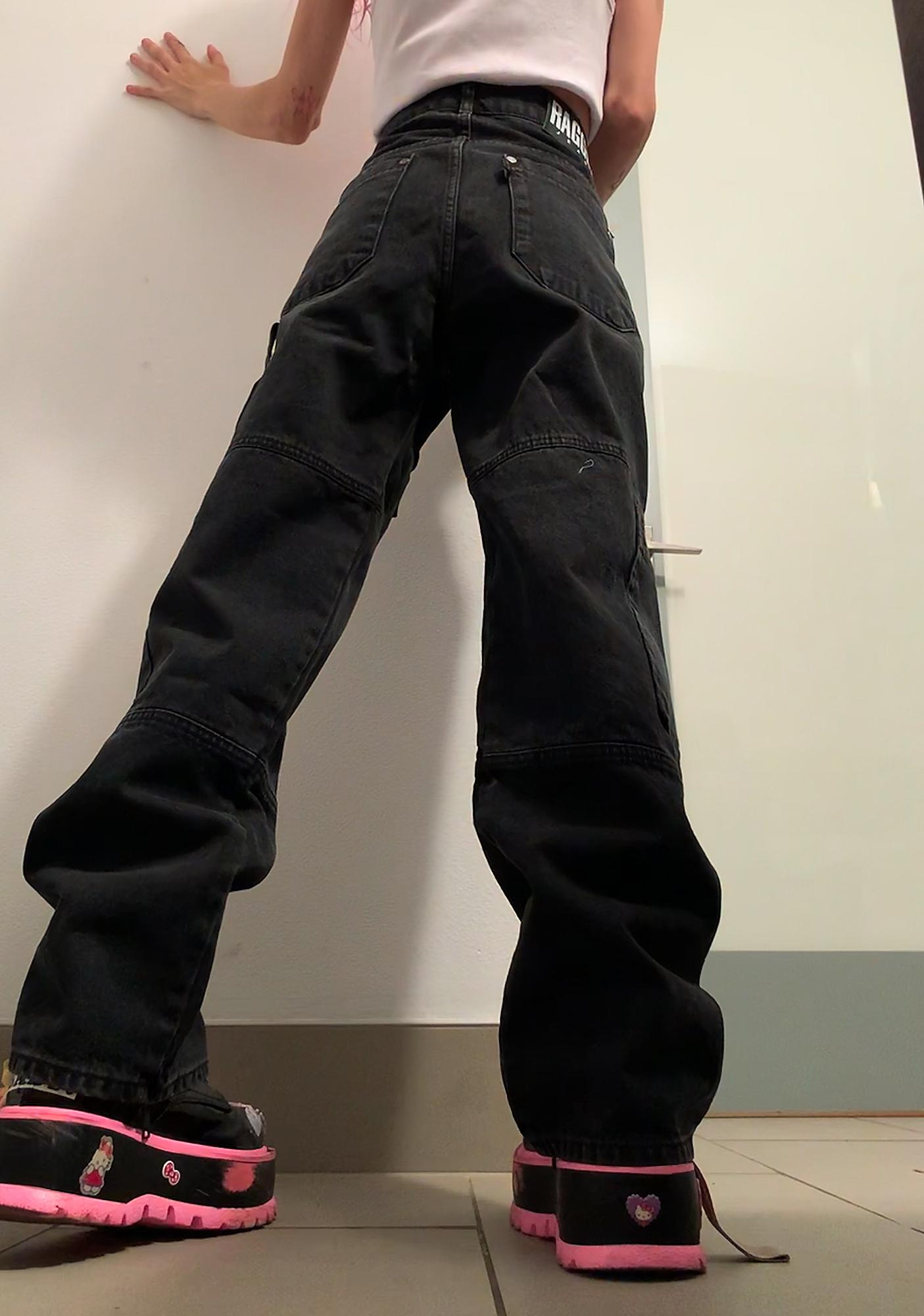 The Ragged Priest Black Combat Wide Leg Jeans