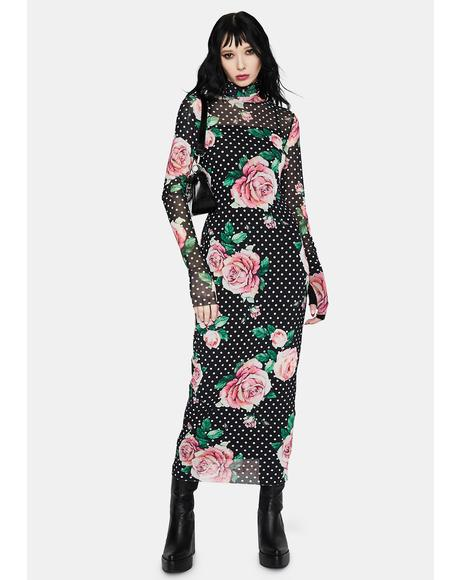 Winter Rose Polka Dot Shailene Mesh Dress