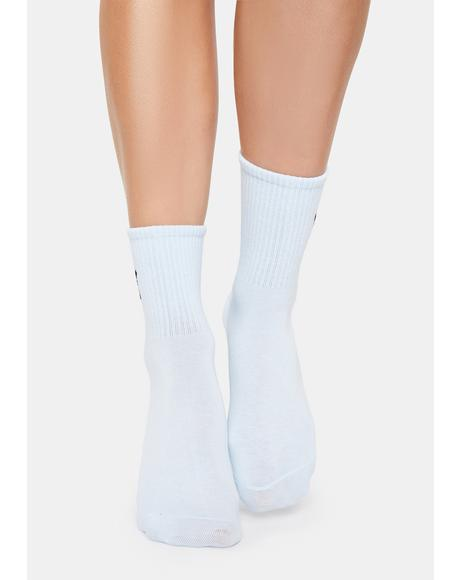 Sky Float Like Me Butterfly Embroidered Crew Socks
