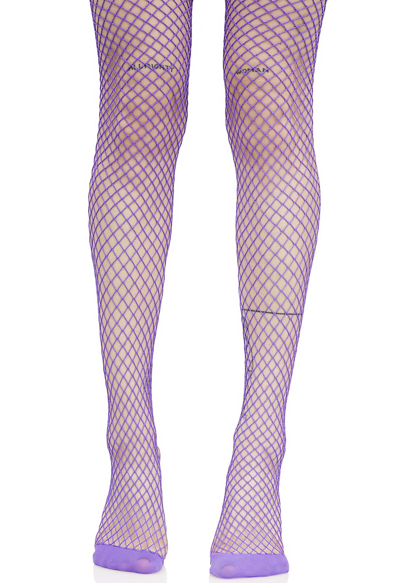 Bright Purple Fishnet Tights