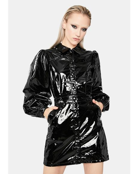 Monster U Made Vinyl Mini Dress