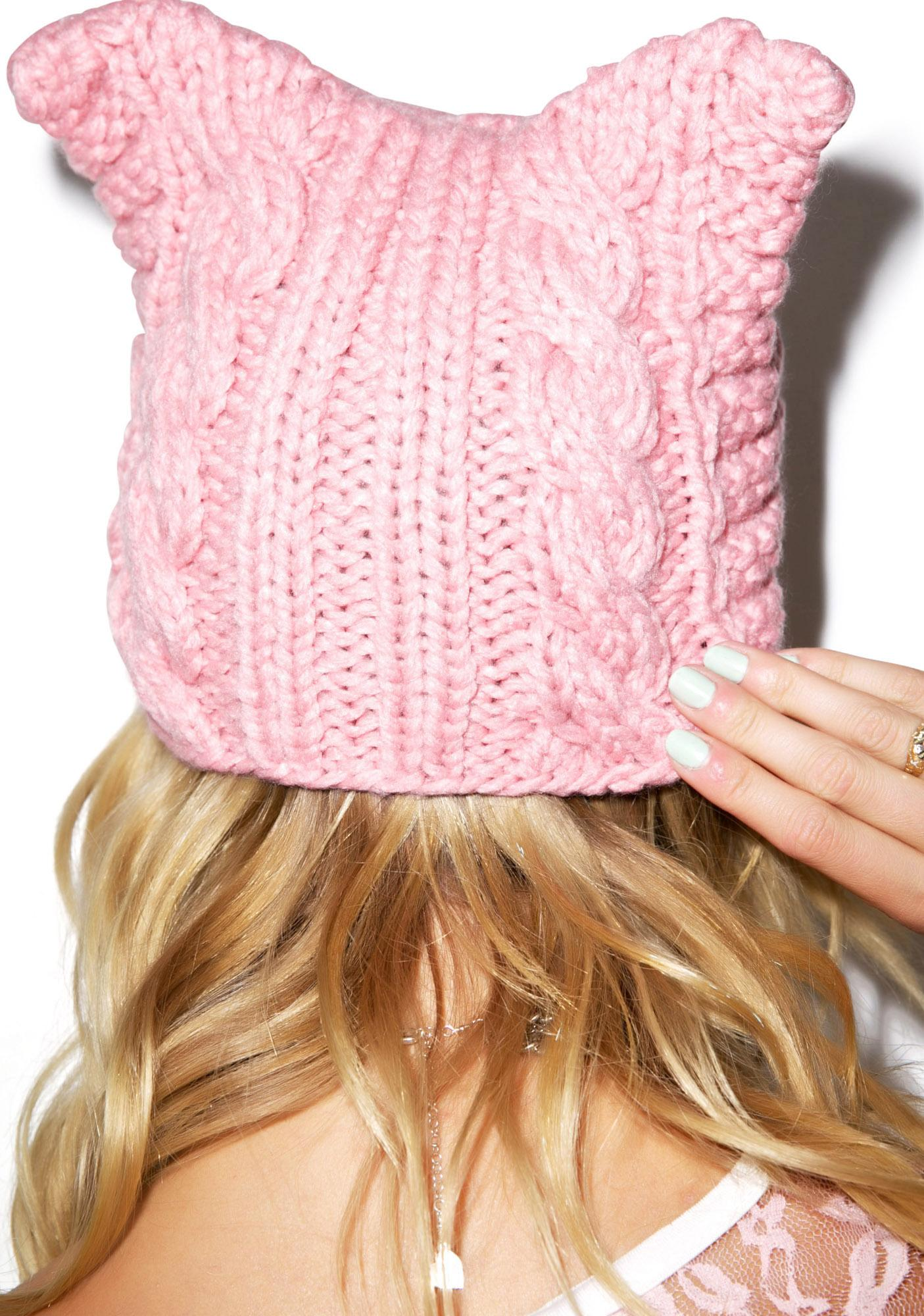 Cable Cat Knit Hat