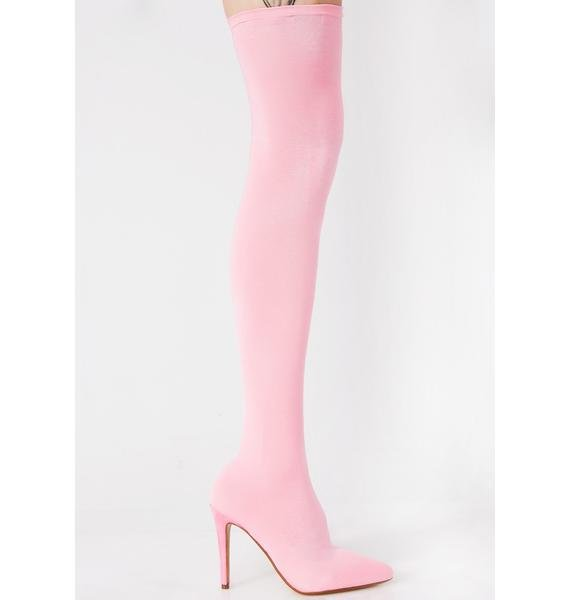 Bubble Gum Goal Getter Thigh High Boots