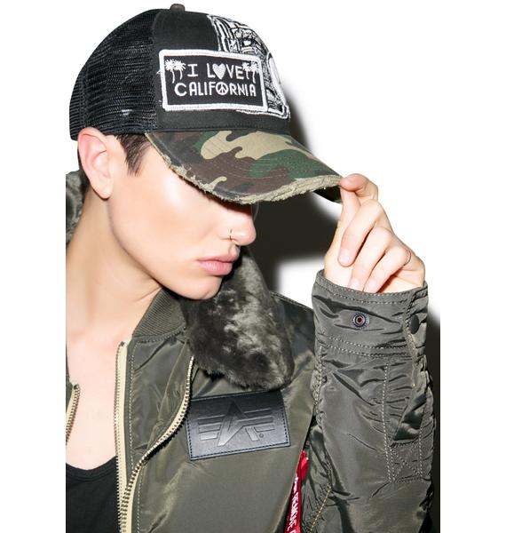 Lauren Moshi Jilly Combo Patch Trucker Hat