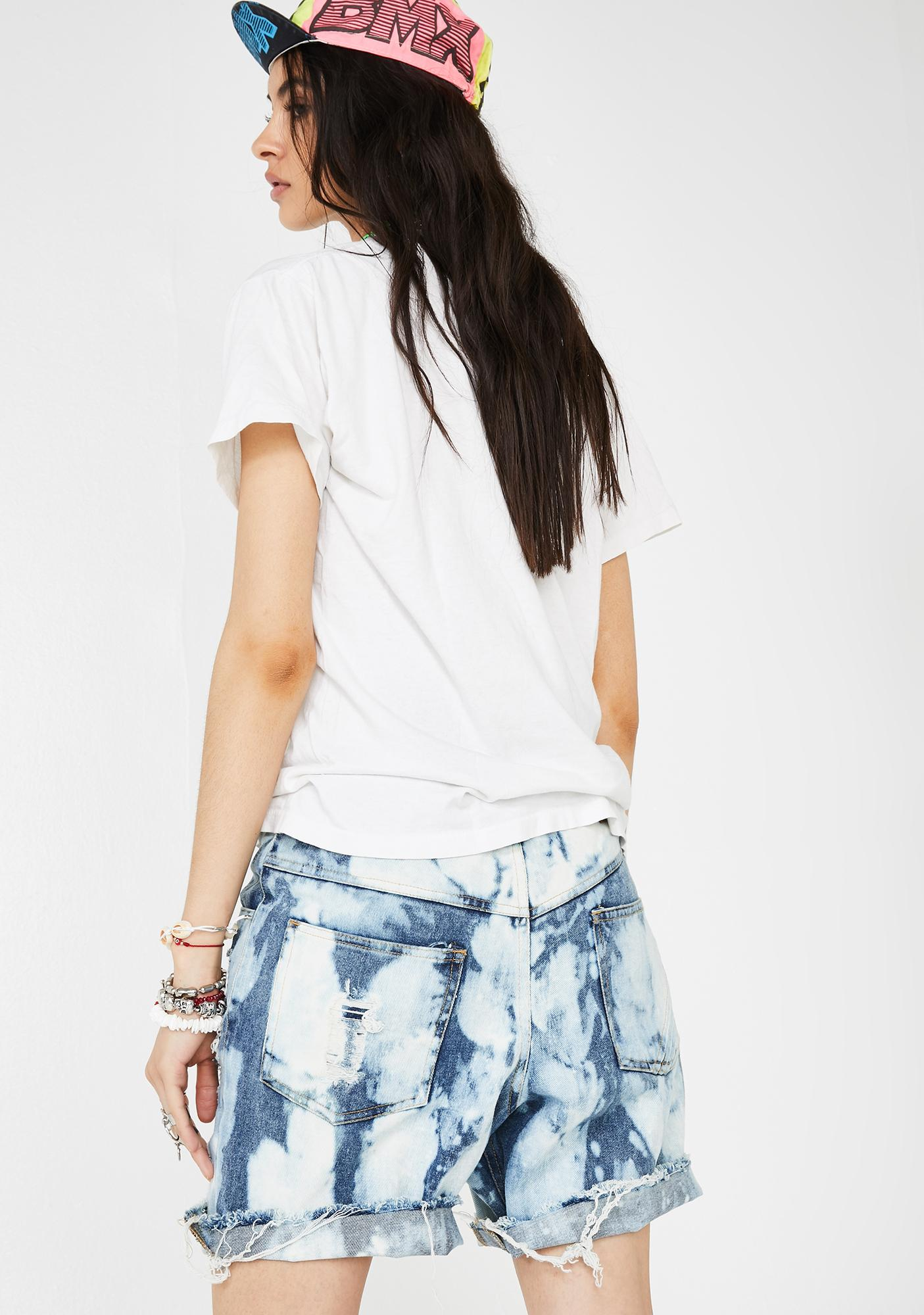 The People VS Sky Bleach Gusset Denim Shorts