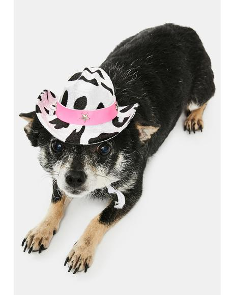 Pink Cow Print Mini Pet Hat
