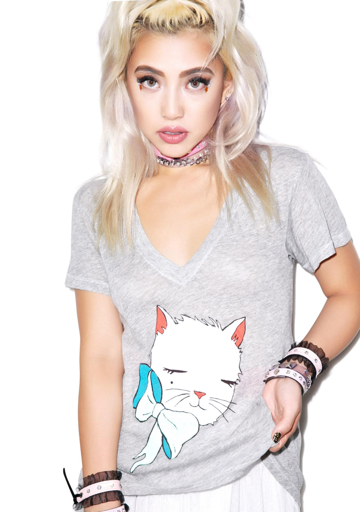 Wildfox Couture Mon Petit Kitten Classic V-neck Tee