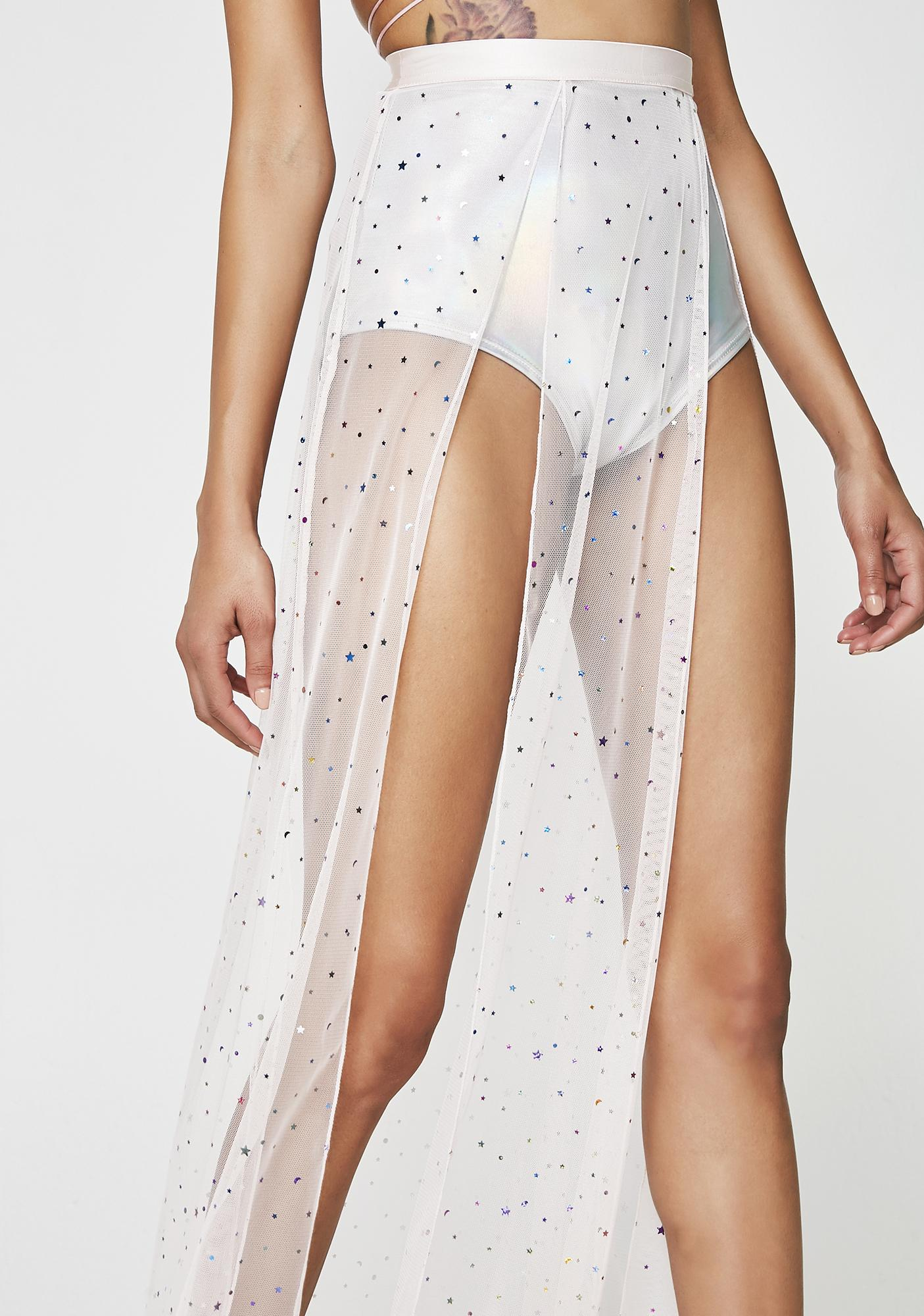 Club Exx Star Girl Sheer Maxi Skirt