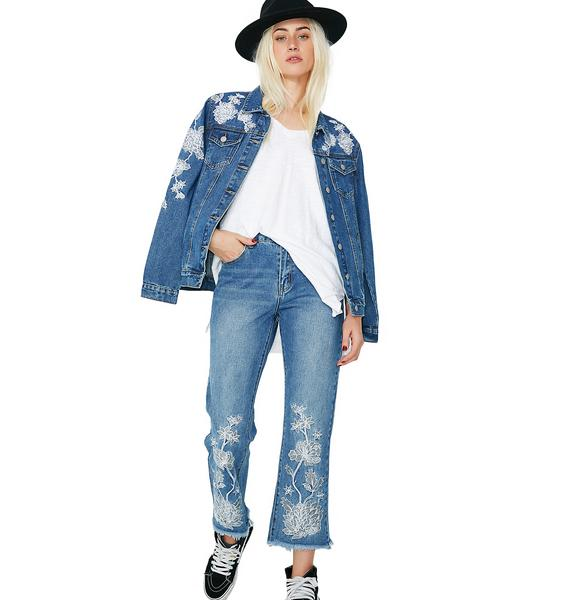Glamorous Floral Embroidered Jeans