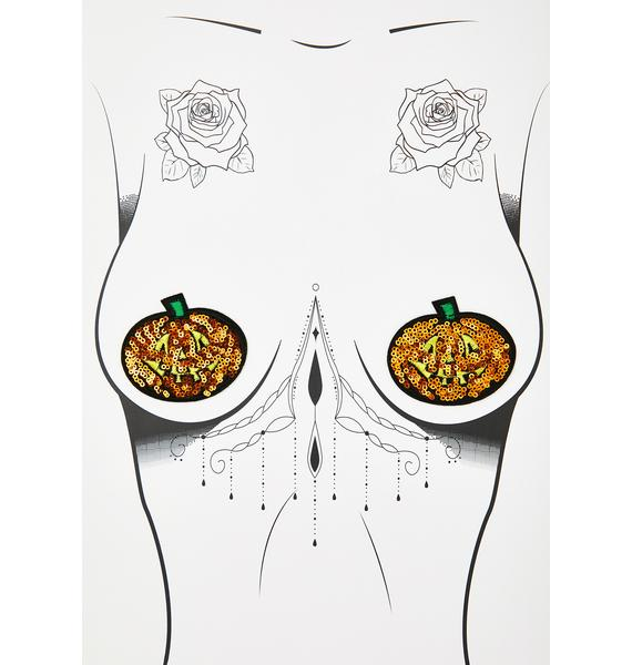 Neva Nude Sequin Pumpkin Pasties