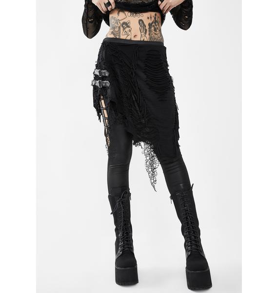 Devil Fashion Skirted Skinny Pants With Belt