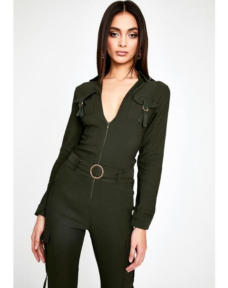 Olive End Game Cargo Jumpsuit
