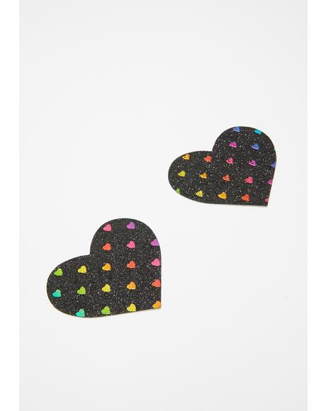 Black Rainbow Heart Pasties