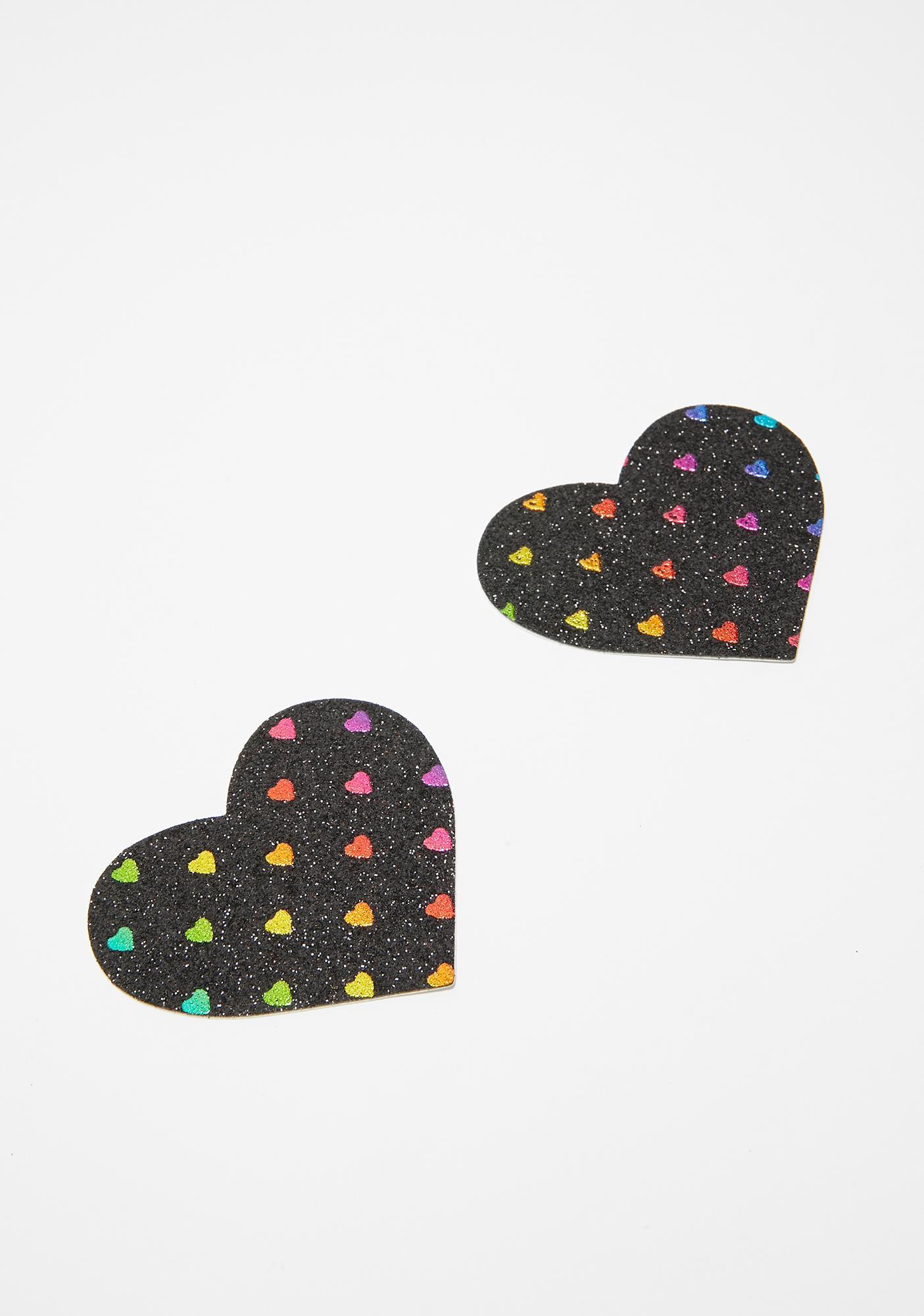 Neva Nude Black Rainbow Heart Pasties
