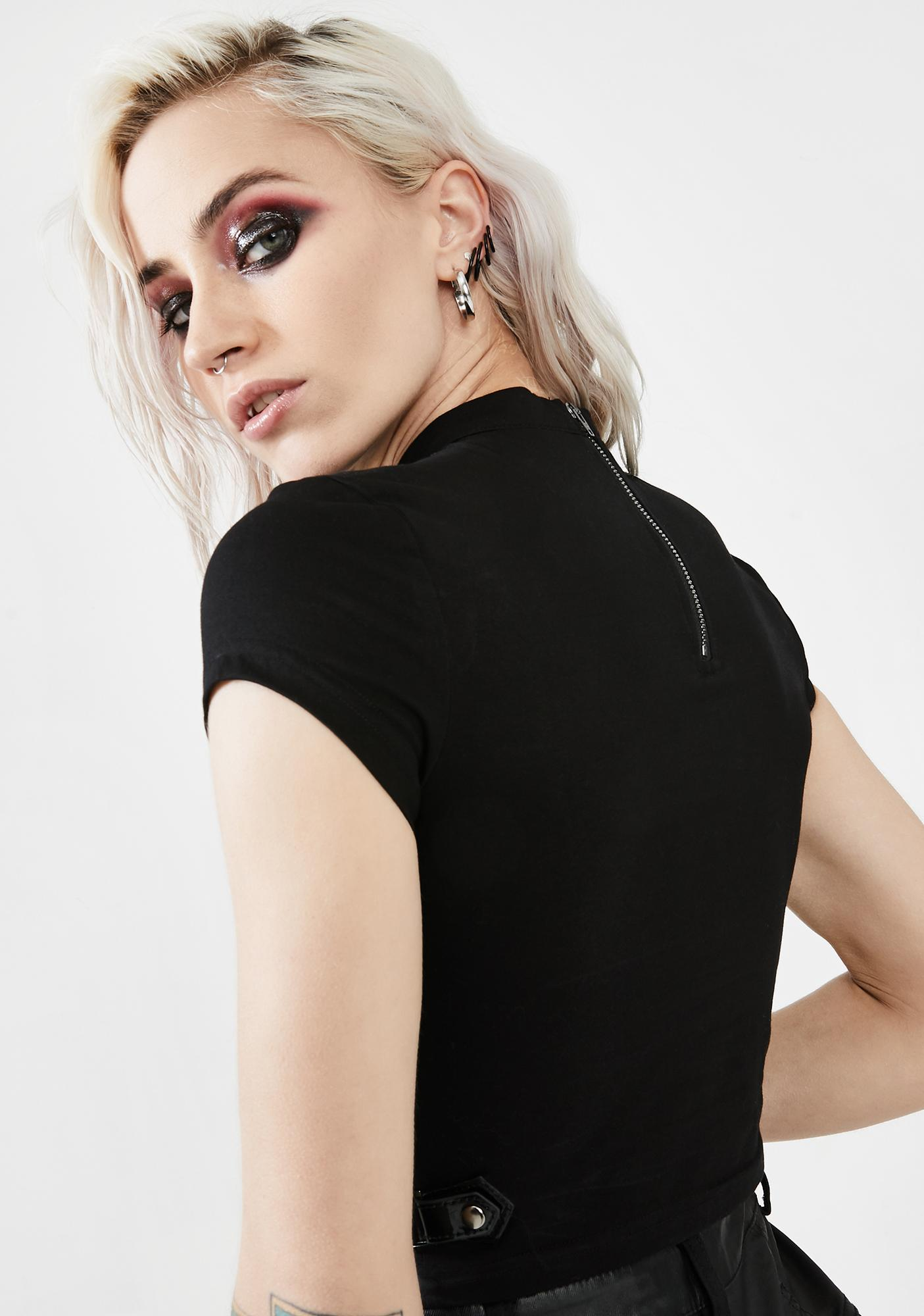 Punk Rave Black Lace Up Crop Top