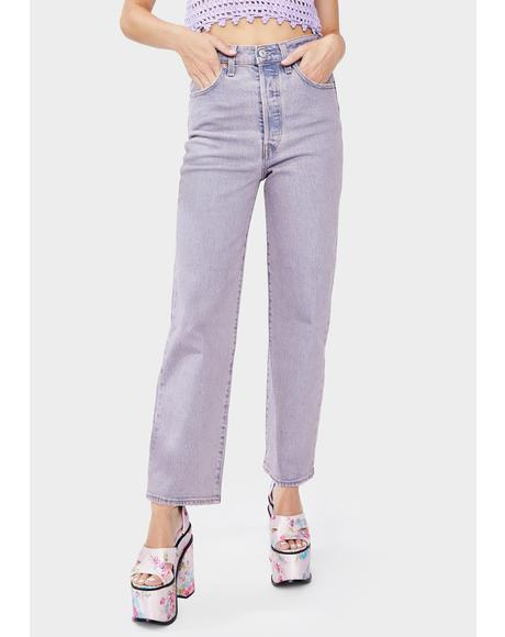 Lavender Tango Ribcage Straight Leg Ankle Jeans