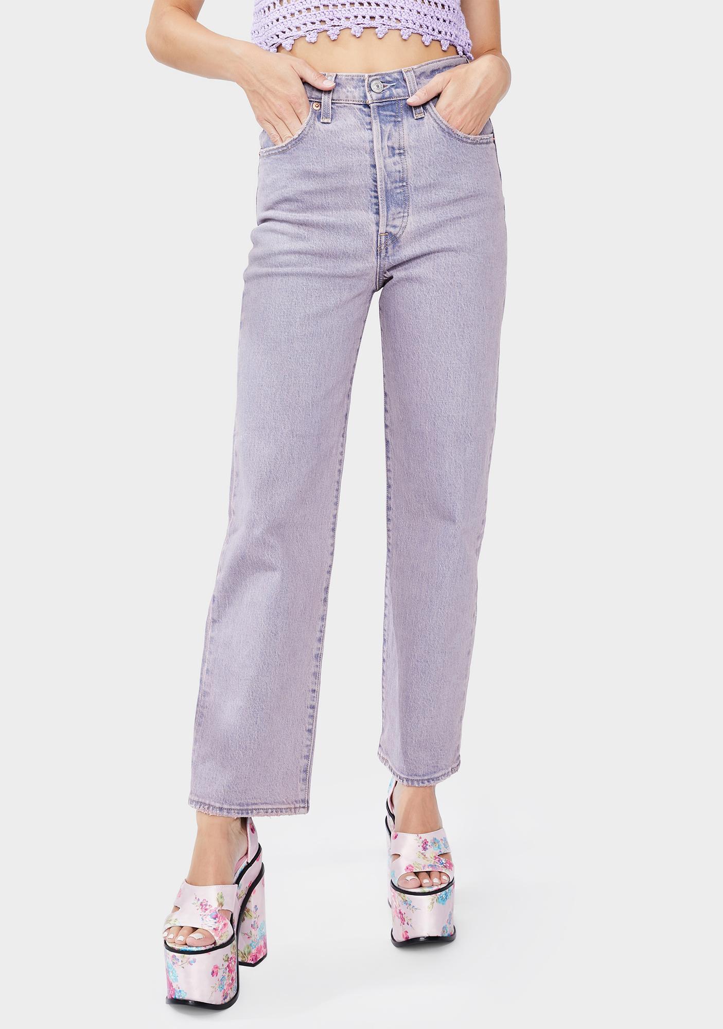 Levis Lavender Tango Ribcage Straight Leg Ankle Jeans