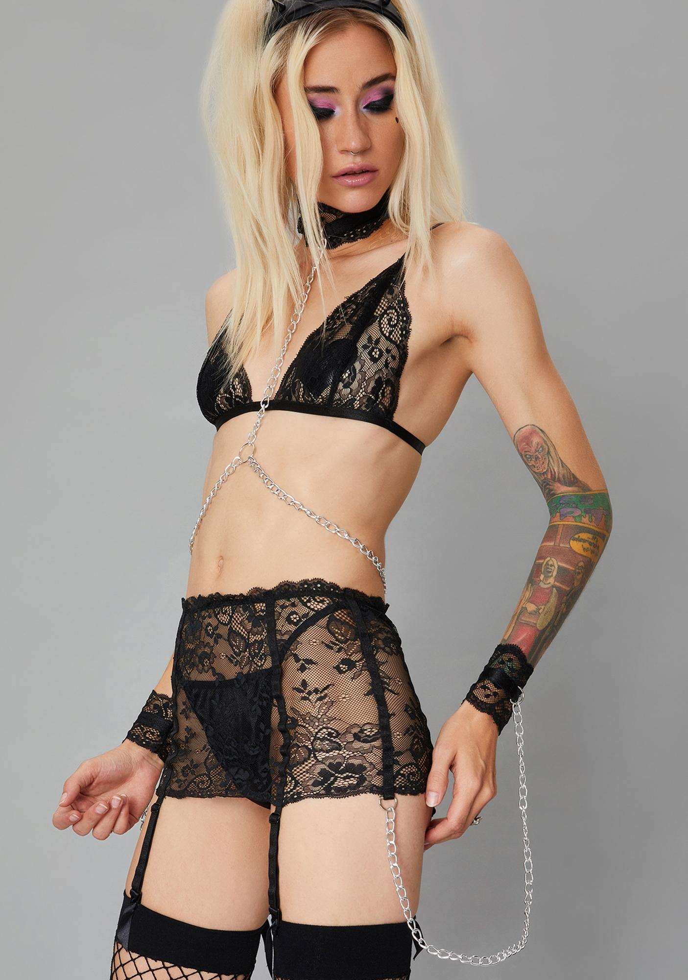 Widow Caught In Chaos Lace Garter & Panty Set
