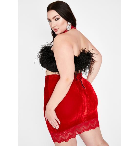 Scarlet Mz Where Are My Manners Velvet Skirt