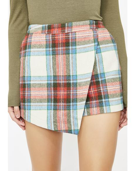 Rumor Has It Plaid Skort