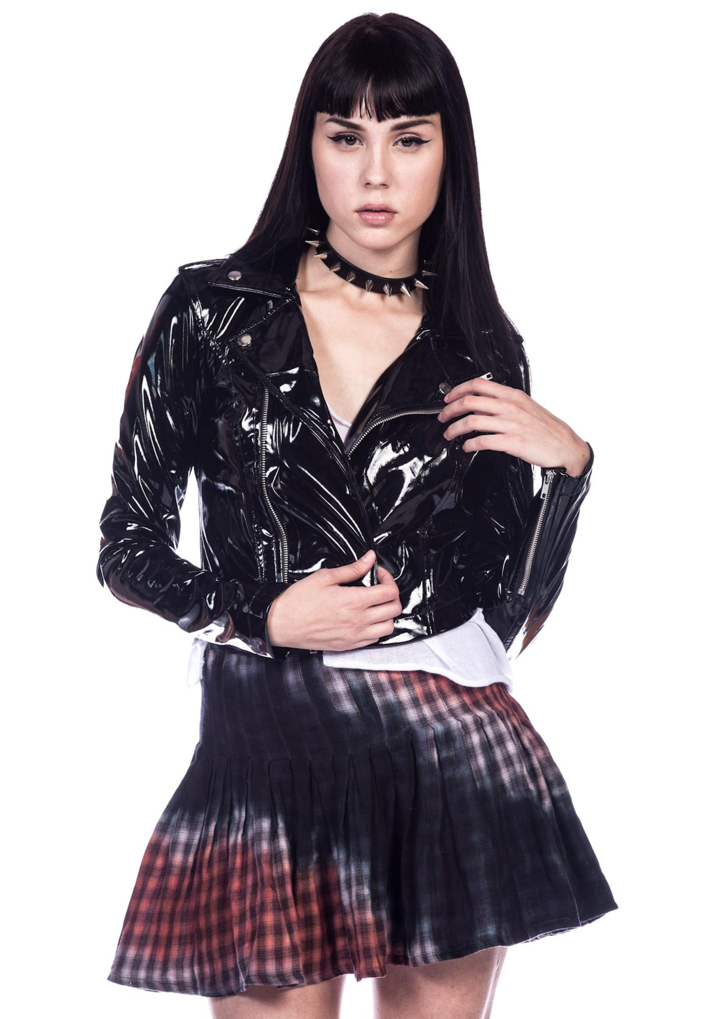 Lip Service Vinyl Cropped Moto Jacket