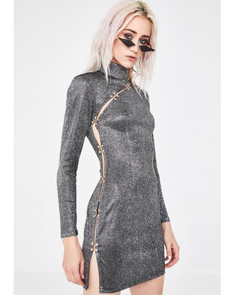 Side Slash Glitter Dress