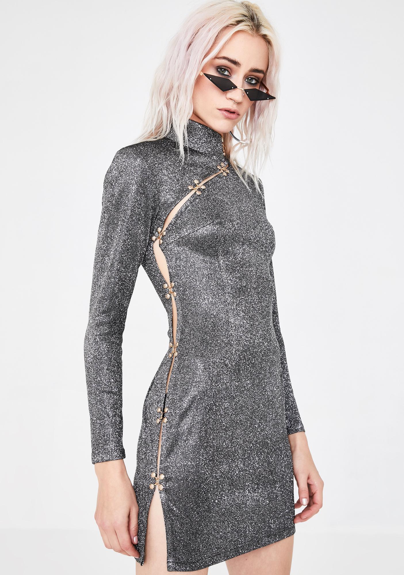 Dynasti Side Slash Glitter Dress
