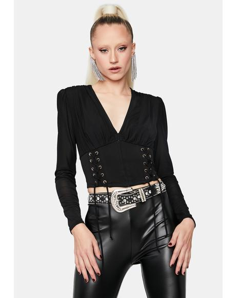 Not The Same Long Sleeve Corset Top