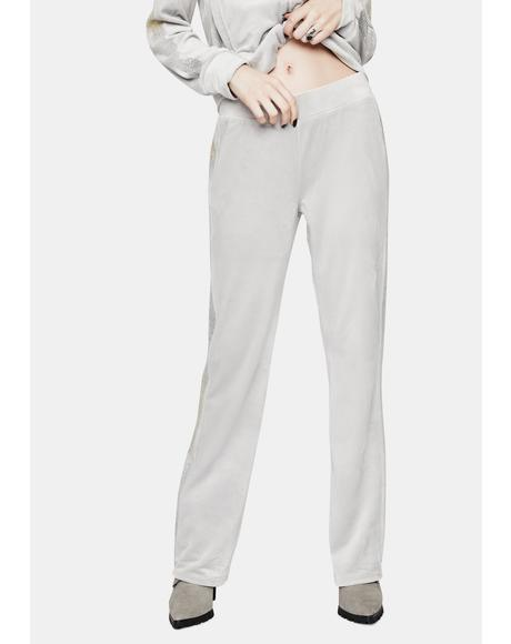 Silver Ice Luxe Velour Sweatpants