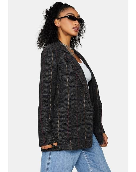 Keep Ur Cool Collared Plaid Blazer
