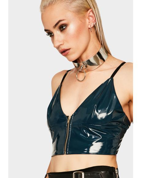 Wanting It All Vegan Leather Crop Top