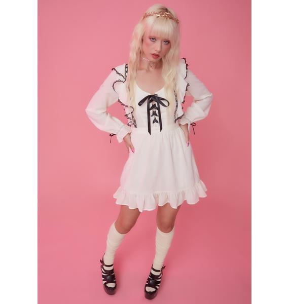 Sugar Thrillz Due North Contrast Trim Ruffle Mini Dress
