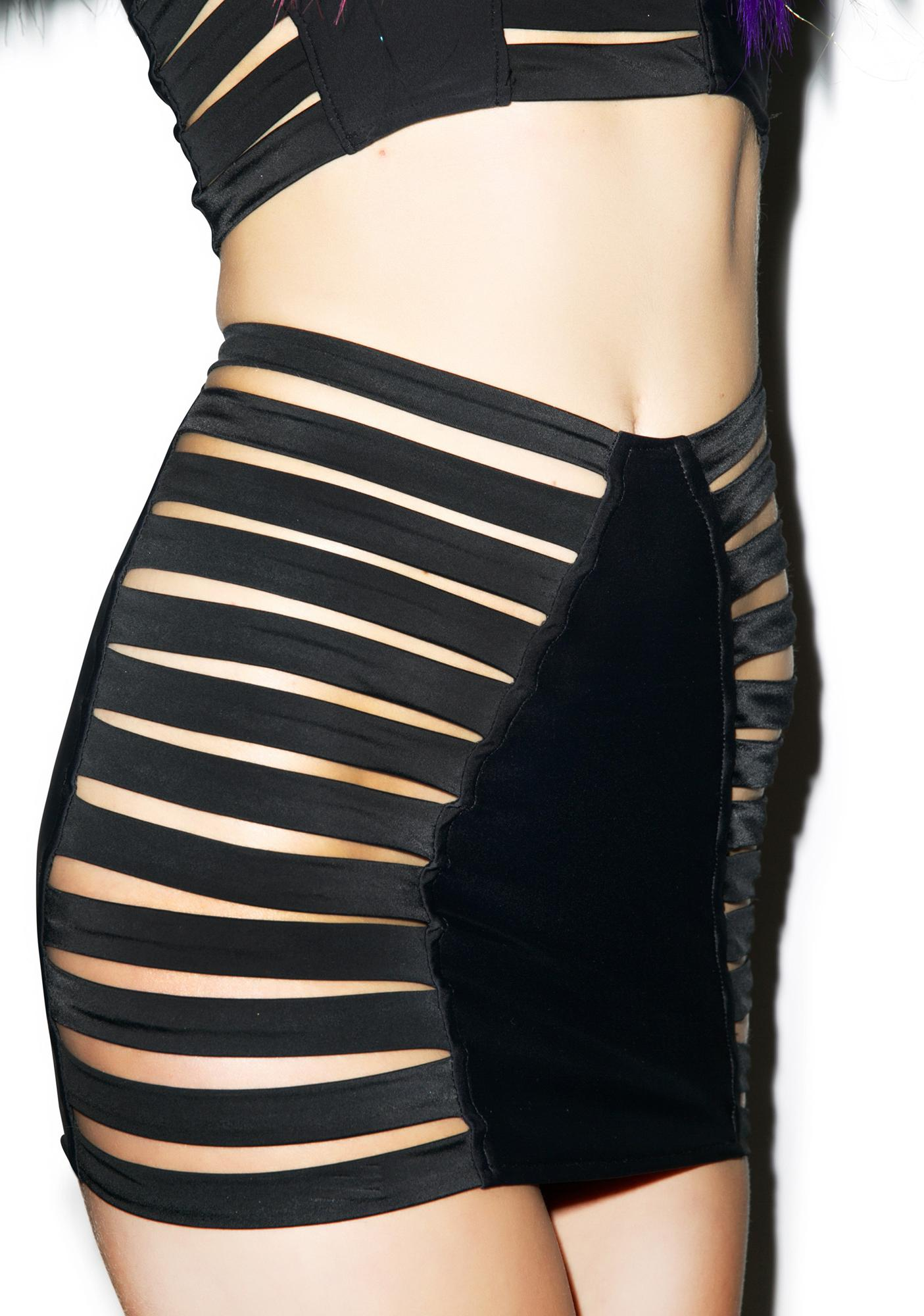 J Valentine Black Widow Strappy Skirt