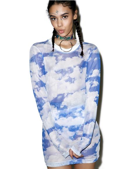 Caught In Clouds Long Sleeve Dress