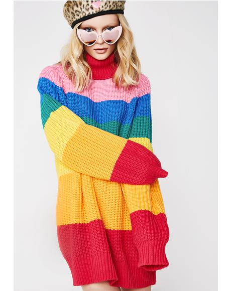 Rainbow Roll Neck Jumper