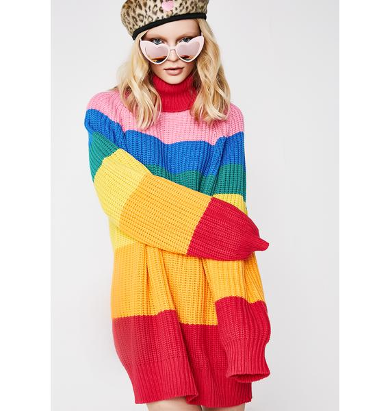 Lazy Oaf Rainbow Roll Neck Jumper