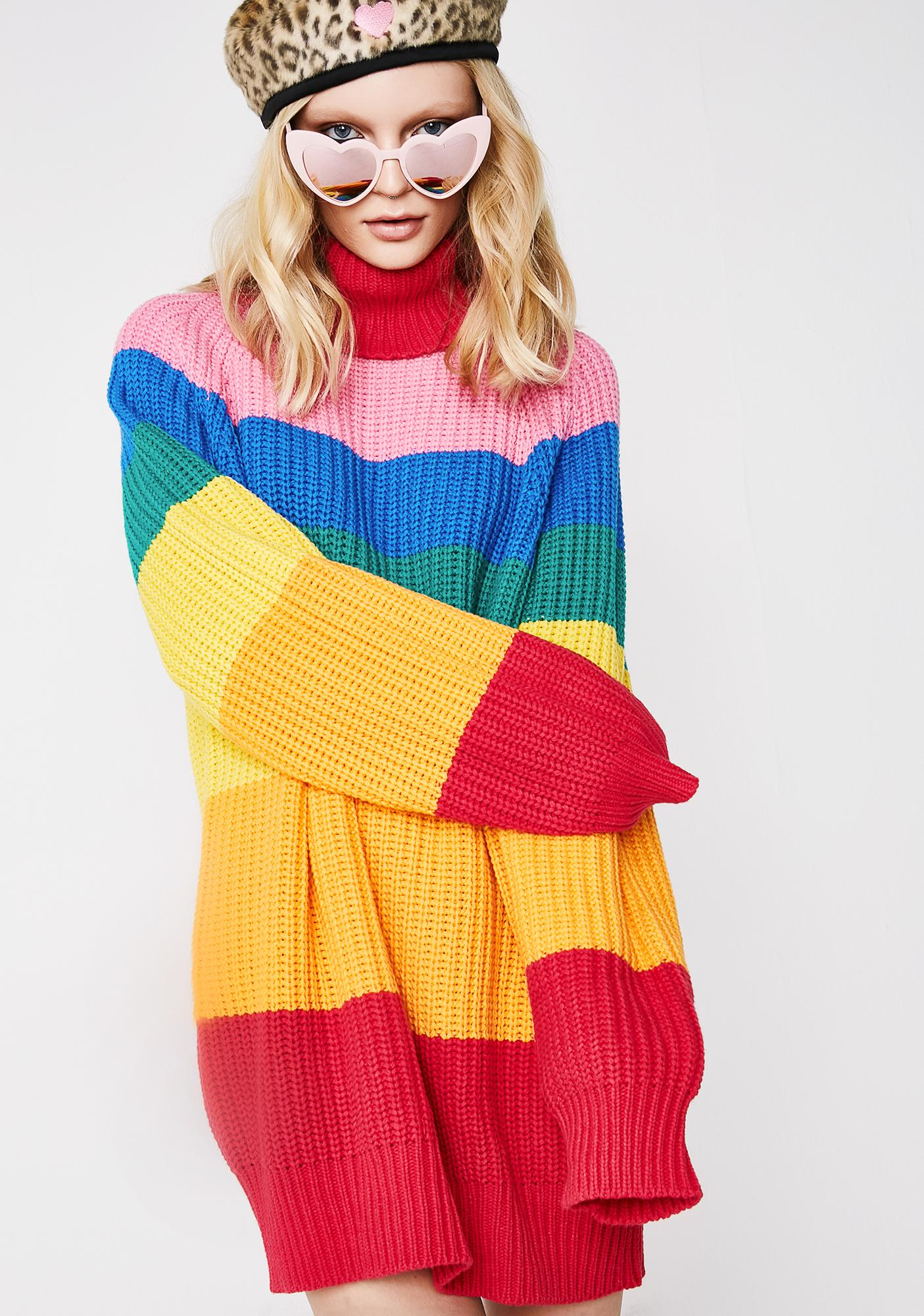 a0be63c17101 Lazy Oaf Rainbow Roll Neck Jumper