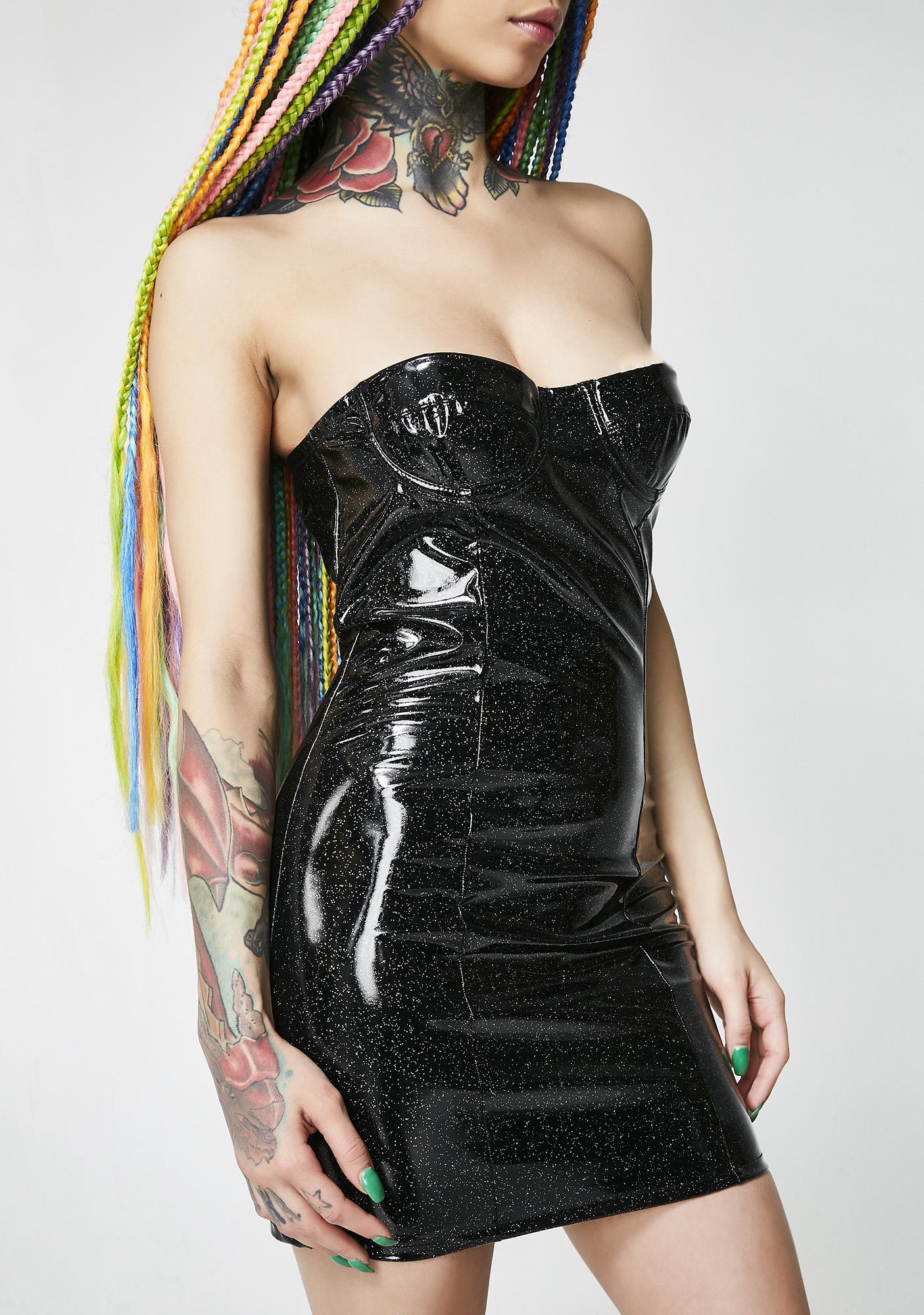 Jaded London Glitter Vinyl Corset Mini Dress