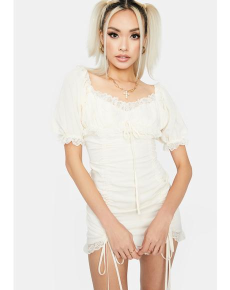 Cream Sunset Romance Ruched Dress