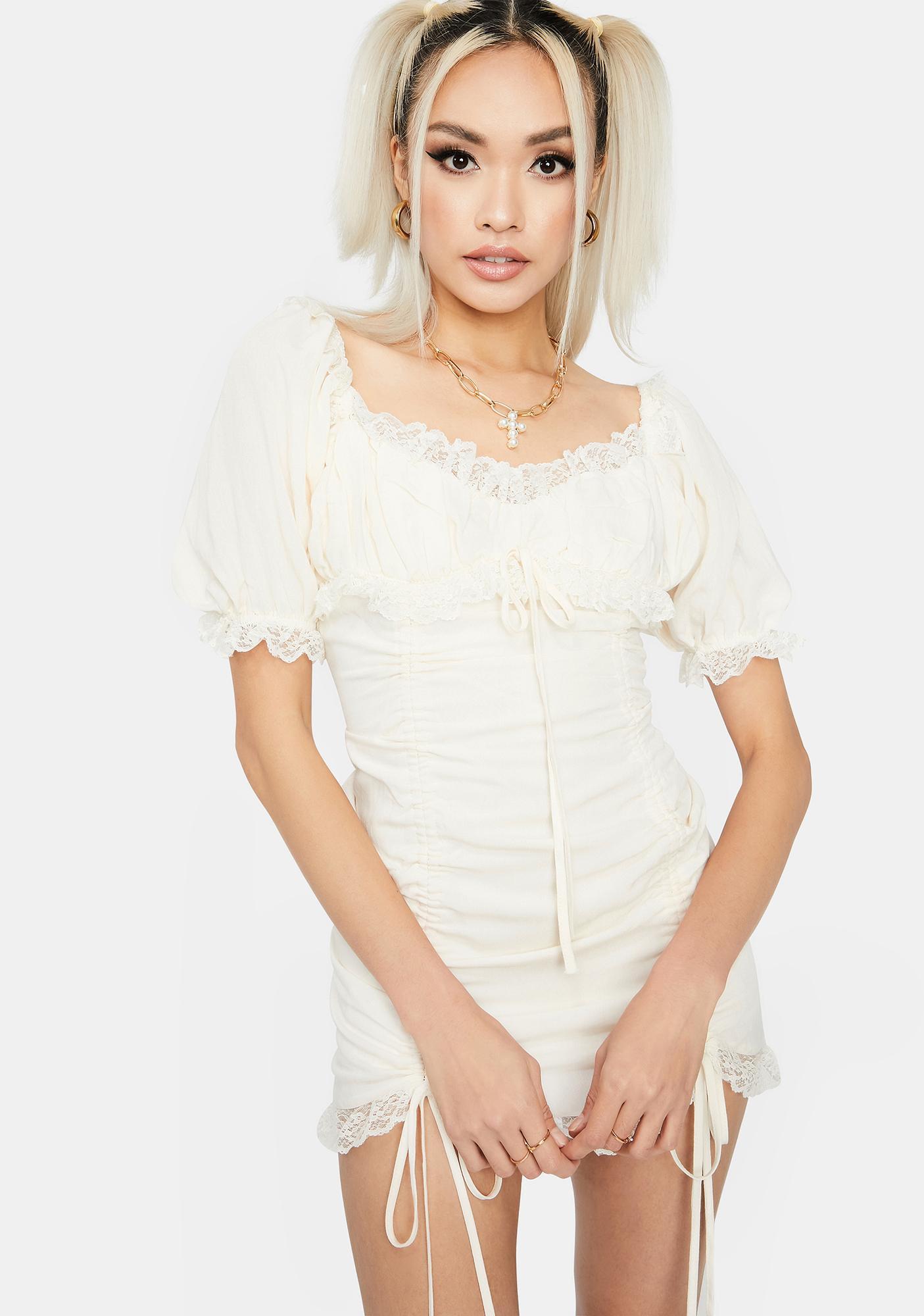 Cream Sunset Romance Ruched Dress
