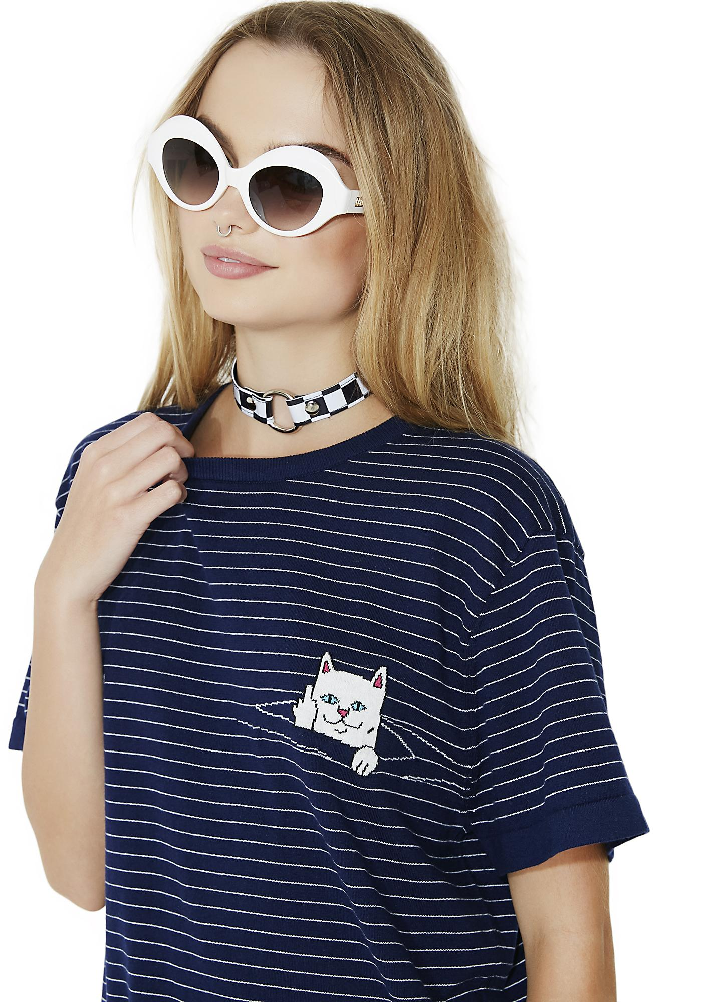RIPNDIP Navy Peeking Nermal Stripe Tee