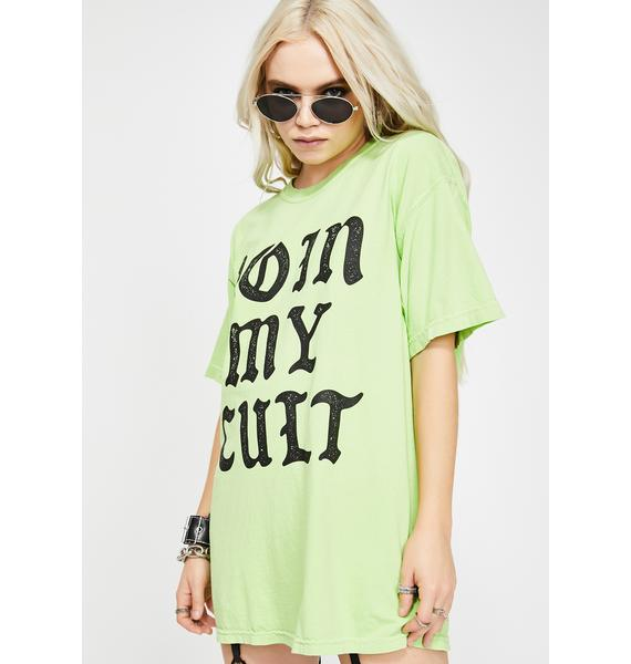 Slushcult Lime Join My Cult Graphic Tee