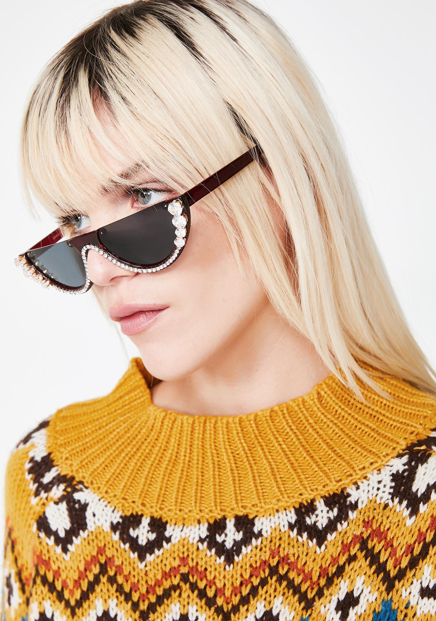 34695603b3 Brown Rhinestone Half Frame Sunglasses