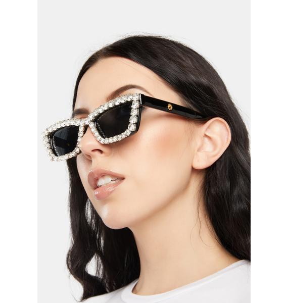 Retro Glam Rhinestone Cat Eye Sunglasses