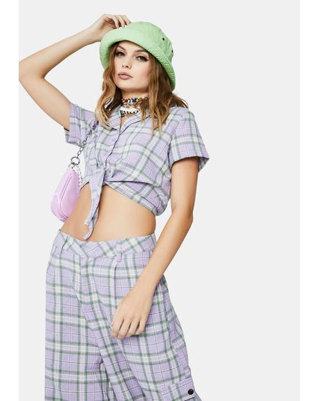 Lilac Checked Tie Front Crop Top