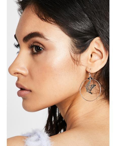 Chrome Flawless Flutter Drop Earrings