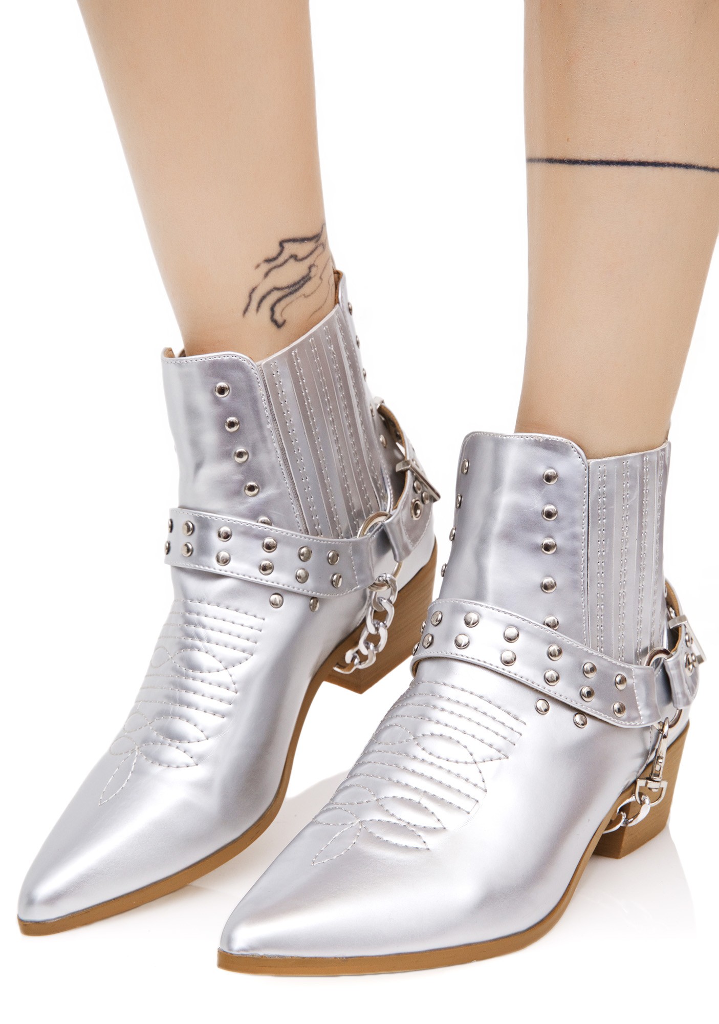 Silver Western Pointed Boots