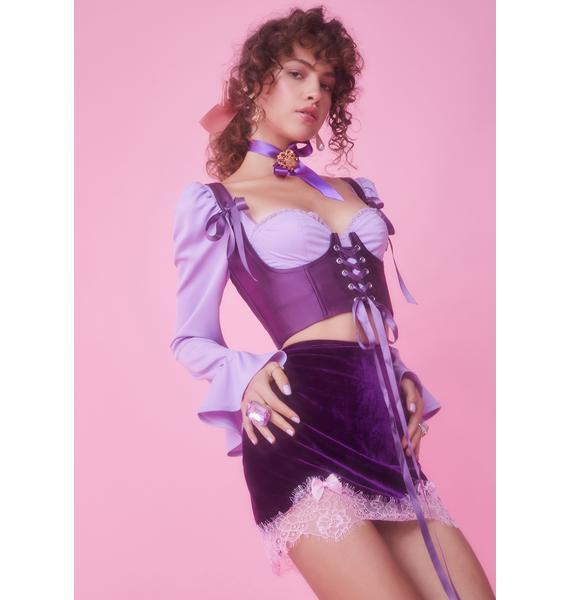 Sugar Thrillz Majestic Takeover Velvet Mini Skirt