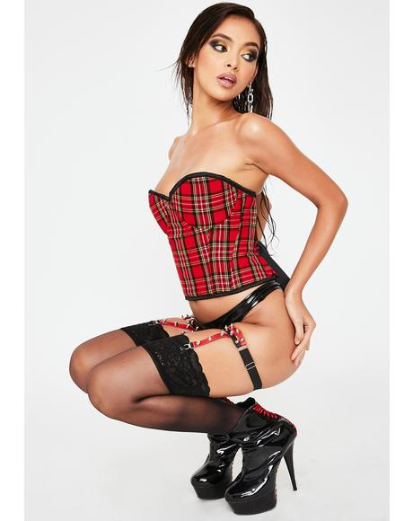 Red Plaid Underwire Bustier